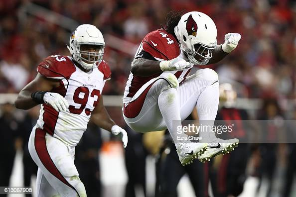 Markus Golden of the Arizona Cardinals celebrates after a sack against the San Francisco 49ers during their NFL game at Levi's Stadium on October 6...