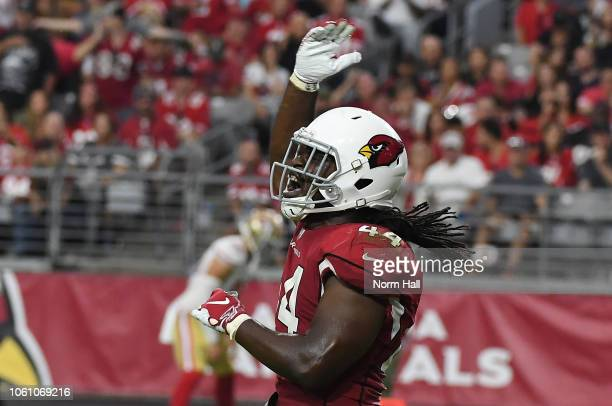 Markus Golden of the Arizona Cardinals reacts after making a tackle against the San Francisco 49ers at State Farm Stadium on October 28 2018 in...