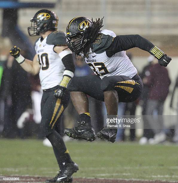 Markus Golden of the Missouri Tigers celebrates sacking the Texas AM Aggies quarterback in the first half of an NCAA football game on November 15...