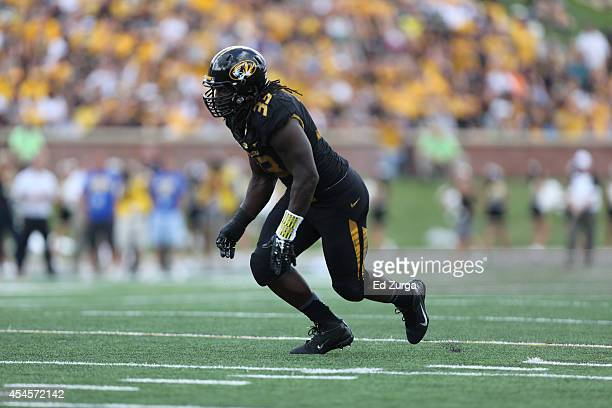 Markus Golden of the Missouri Tigers in action against the South Dakota State Jackrabbits at Memorial Stadium on August 30 2014 in Columbia Missouri