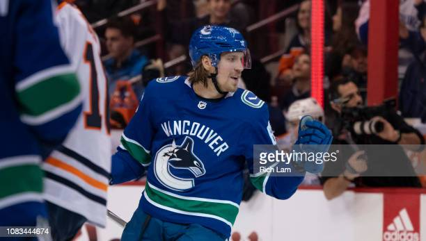 Markus Granlund of the Vancouver Canucks celebrates after scoring a goal against the Edmonton Oilers in NHL action on January 2019 at Rogers Arena in...