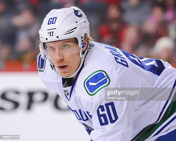 Markus Granlund of the Vancouver Canucks in action against the Calgary Flames during an NHL game at Scotiabank Saddledome on December 23 2016 in...