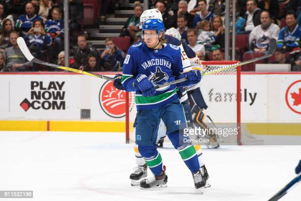 Markus Granlund of the Vancouver Canucks is checked by Jack Eichel of the Buffalo Sabres during their NHL game at Rogers Arena on January 25 2018 in...