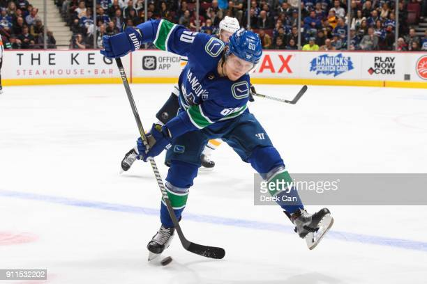 Markus Granlund of the Vancouver Canucks plays the puck during their NHL game against the Buffalo Sabres at Rogers Arena on January 25 2018 in...
