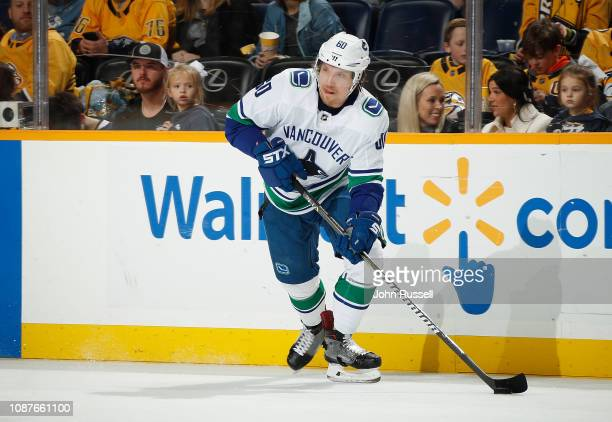 Markus Granlund of the Vancouver Canucks skates against the Nashville Predators at Bridgestone Arena on December 13 2018 in Nashville Tennessee