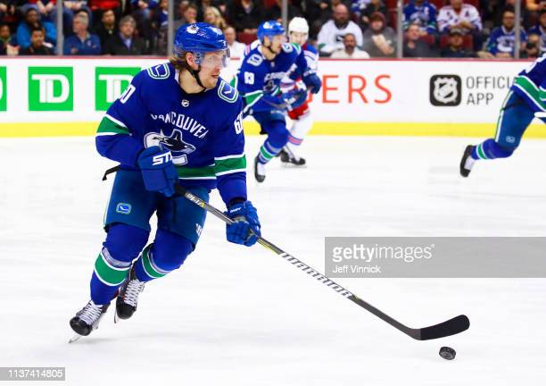 Markus Granlund of the Vancouver Canucks skates up ice during their NHL game against the New York Rangers at Rogers Arena March 13 2019 in Vancouver...