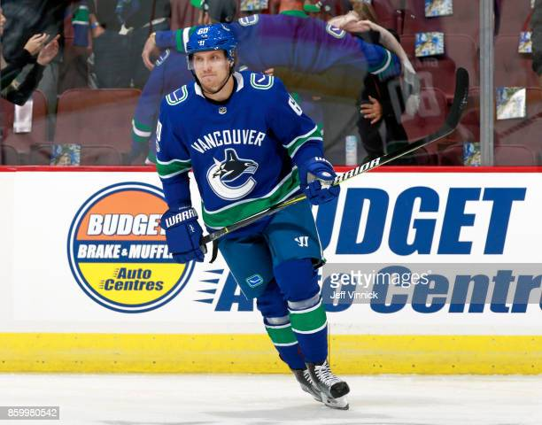 Markus Granlund of the Vancouver Canucks skates up ice during their NHL game against the Edmonton Oilers at Rogers Arena October 7 2017 in Vancouver...