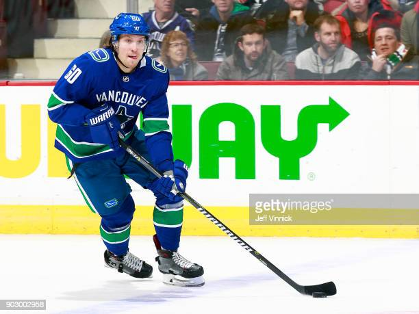 Markus Granlund of the Vancouver Canucks skates up ice with the puck during their NHL game against the Anaheim Ducks at Rogers Arena January 2 2018...