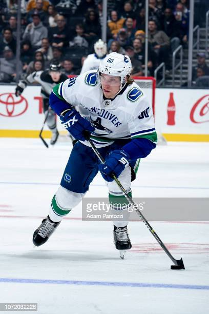 Markus Granlund of the Vancouver Canucks skates with the puck during the second period of the game against the Los Angeles Kings at STAPLES Center on...