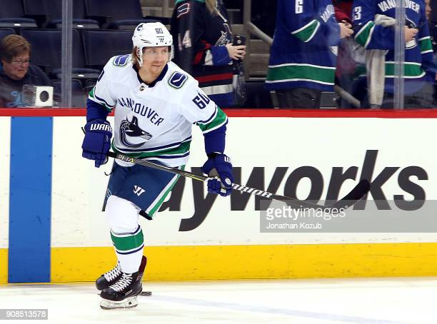 Markus Granlund of the Vancouver Canucks takes part in the pregame warm up prior to NHL action against the Winnipeg Jets at the Bell MTS Place on...