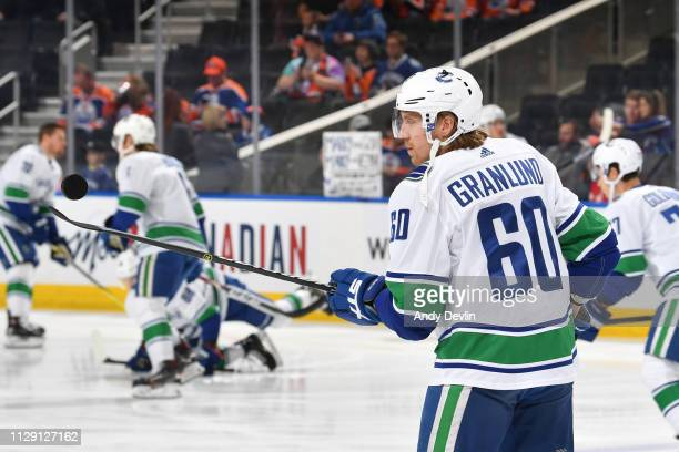 Markus Granlund of the Vancouver Canucks warms up prior to the game against the Edmonton Oilers on March 7 2019 at Rogers Place in Edmonton Alberta...