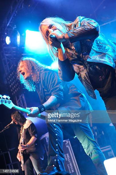 Markus Grobkopf and Andi Deris of Helloween live on stage at Hard Rock Hell on December 4 2010