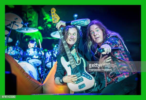 Markus Gro§kopf and Andi Deris of Helloween perform at Forum on stage on November 18 2017 in Milan Italy