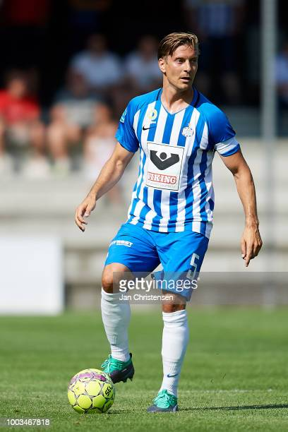 Markus Halsti of Esbjerg fB in action during the Danish Superliga match between Esbjerg fB and Vendsyssel FF at Blue Water Arena on July 21 2018 in...