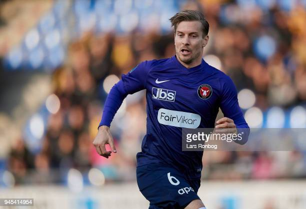 Markus Halsti of FC Midtjylland in action during the Danish DBU Pokalen Cup quarterfinal match between Hobro IK and FC Midtjylland at DS Arena on...