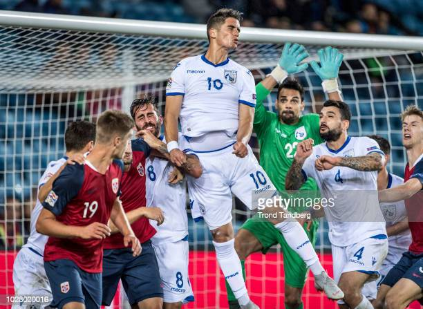Markus Henriksen Kristoffer Ajer of Norway Charalambos Kyriakou Pieros Sotiriou Giorgos Merkis Urko Pardo of Cyprus during the UEFA Nations League C...