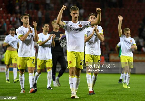 Markus Henriksen of Hull City and his teammates acknowledge the fans following the Sky Bet Championship match between Rotherham United and Hull City...