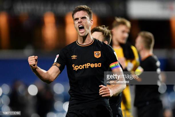Markus Henriksen of Hull City celebrates after the Sky Bet Championship match between Queens Park Rangers and Hull City at Loftus Road on December 1...