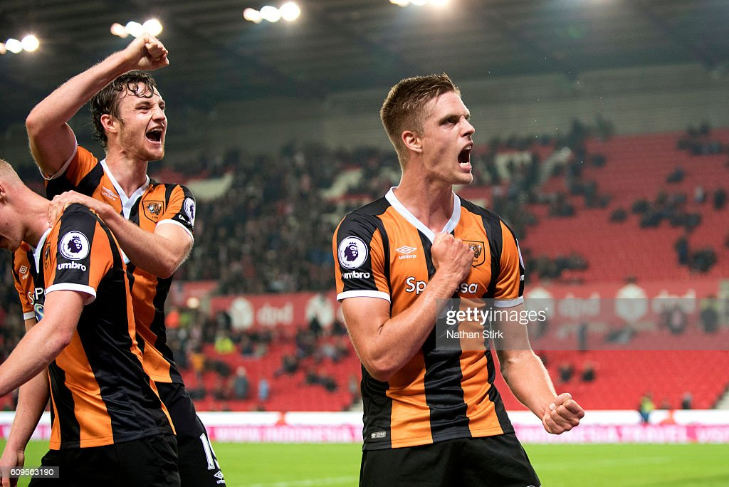 Markus Henriksen of Hull City celebrates during the EFL Cup Third Round match between Stoke City and Hull City at the Bet365 Stadium on September 21, 2016 in Stoke on Trent, England.