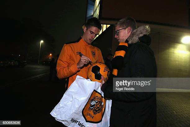 Markus Henriksen of Hull City signs autographs prior to the Premier League match between Hull City and Everton at KCOM Stadium on December 30 2016 in...