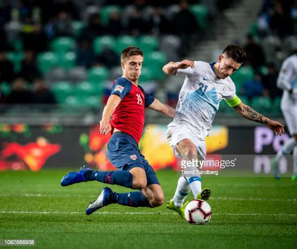 Markus Henriksen of Norway Benjamin Verbic of Slovakia during the UEFA Nations League C group three match between Slovenia and Norway at Stadion...