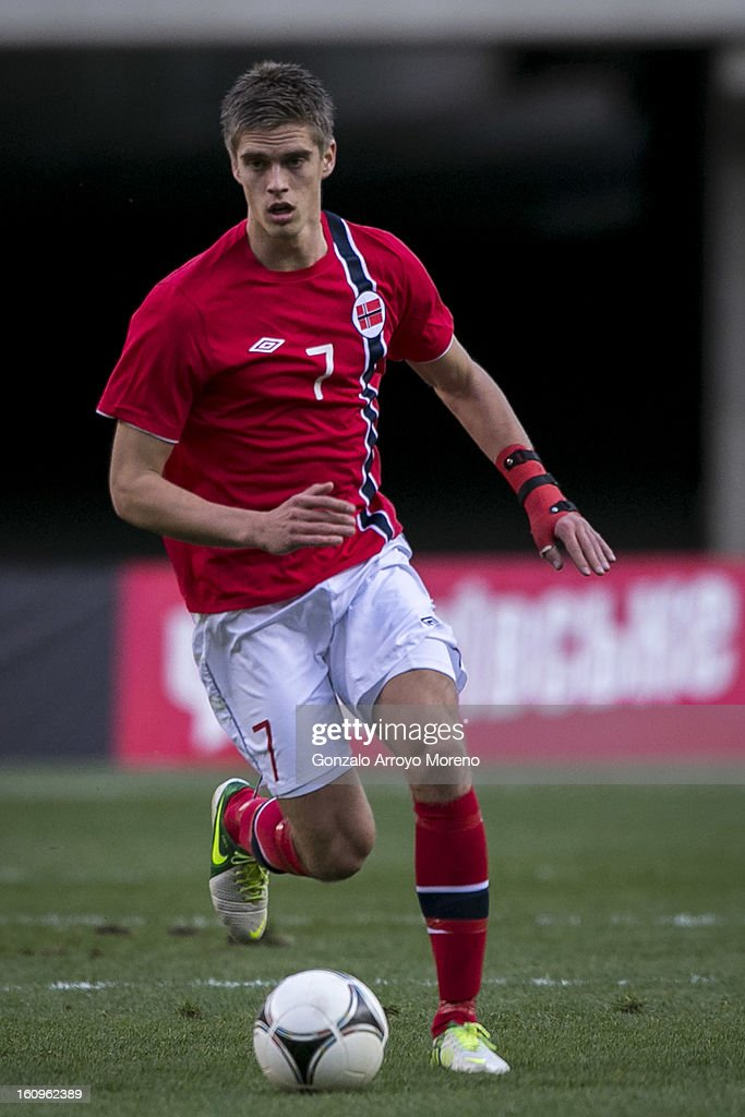 Markus Henriksen of Norway controls the ball during the international friendly football match between Norway and Ukraine at Estadio Olimpico de Sevilla on February 6, 2013 in Seville, Spain.