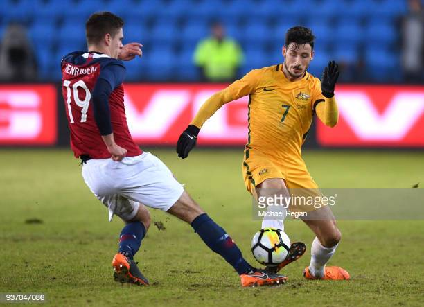Markus Henriksen of Norway tackles Mathew Leckie of Australia during the International Friendly match between Norway and Australia at Ullevaal...