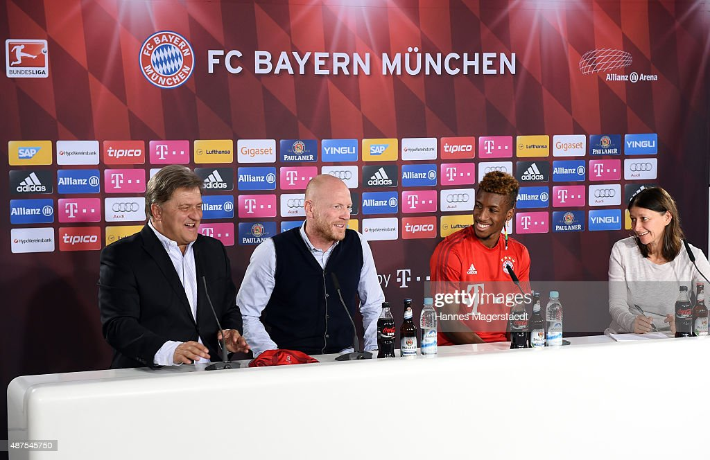 Markus Hoerwick, Matthias Sammer, Kingsley Coman and Lisa Foerster during the 'FC Bayern Muenchen Unveils New Signing Kingsley Coman' at press center of FC Bayern on September 10, 2015 in Munich, Germany.