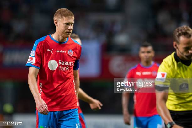 Markus Holgersson of Helsingborgs IF during the Allsvenskan match between Helsingborgs IF and Ostersunds FK at Olympia on August 30 2019 in...