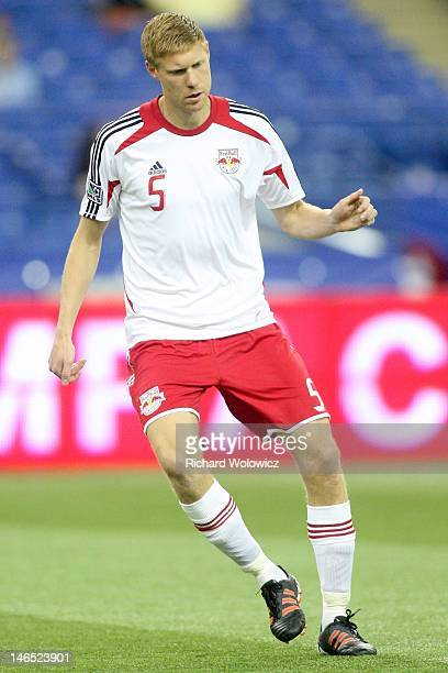 Markus Holgersson of the New York Red Bulls warms up during the warm up period prior to facing the Montreal Impact in their MLS match at the Olympic...
