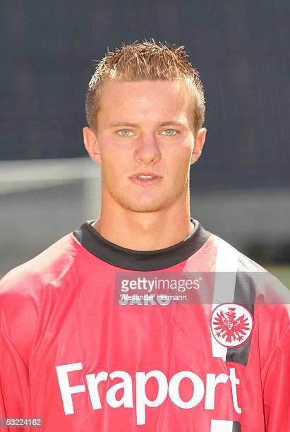 Markus Husterer poses during the team presentation of Eintracht Frankfurt for the Bundesliga season 2005 2006 on July 11 2005 in Frankfurt Germany