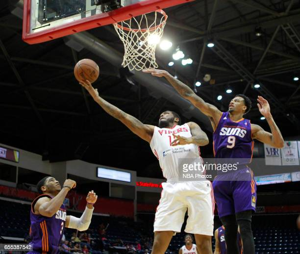 Markus Kennedy of the Rio Grande Valley Vipers shoots the ball on Chris McCullough of the Northern Arizona Suns at the State Farm Arena March 19 2017...