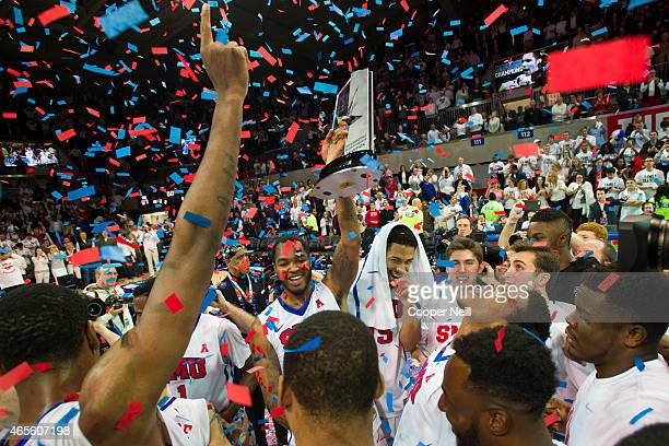 Markus Kennedy of the SMU Mustangs celebrates with his team after defeating the Tulsa Golden Hurricane and winning the American Athletic Conference...