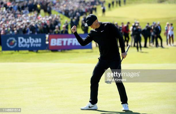 Markus Kinhult of Sweden celebrates after his winning putt on the par four 18th hole during the final round of the Betfred British Masters at...