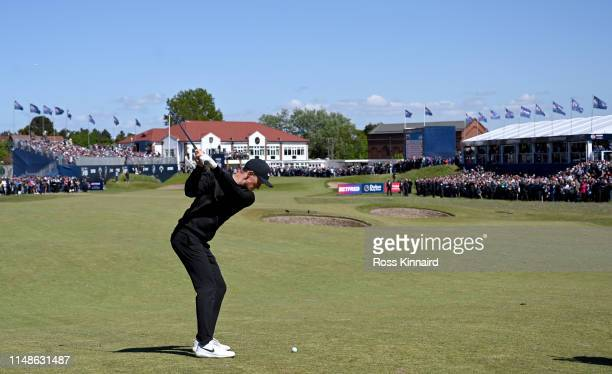 Markus Kinhult of Sweden plays his second shot on the par four 18th hole during the final round of the Betfred British Masters at Hillside Golf Club...