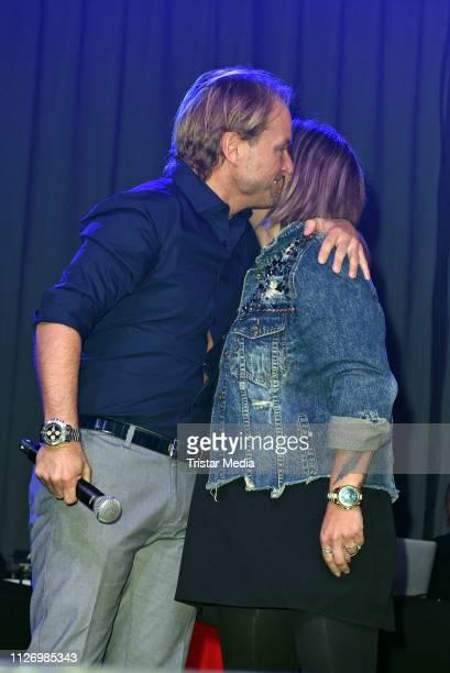 Markus Krampe and Daniela Danni Buechner seen on stage during the 'Goodbye Jens Party Stars Halten Zusammen' benefit at Grugahalle on February 23...