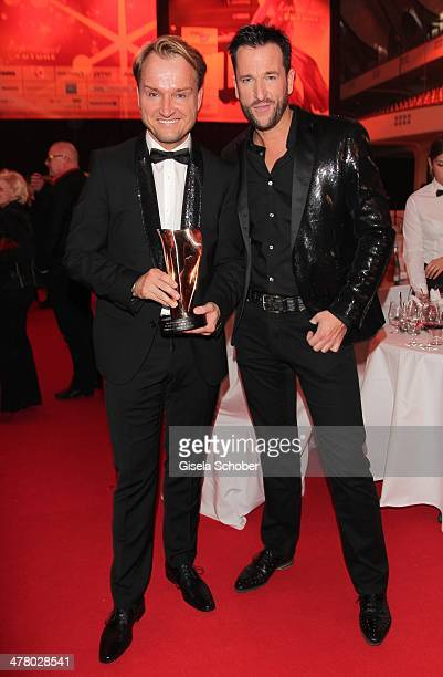 Markus Krampe with award and Michael Wendler attend the LEA Live Entertainment Award 2014 at Festhalle Frankfurt on March 11 2014 in Frankfurt am...