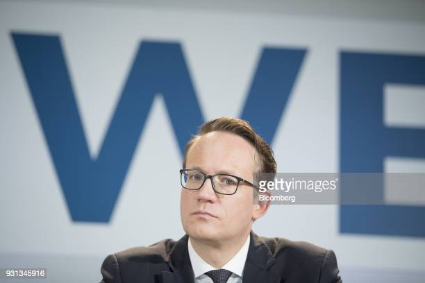 Markus Krebber chief financial officer of RWE AG pauses during a news conference in Essen Germany on Tuesday March 13 2018 EON SE will shed as many...