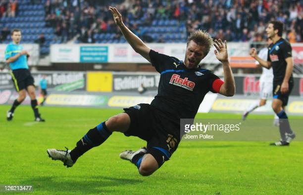 Markus Kroesche of Paderborn celebrates after scoring his team's third goal during the Second Bundesliga match between SC Paderborn and FC Ingolstadt...