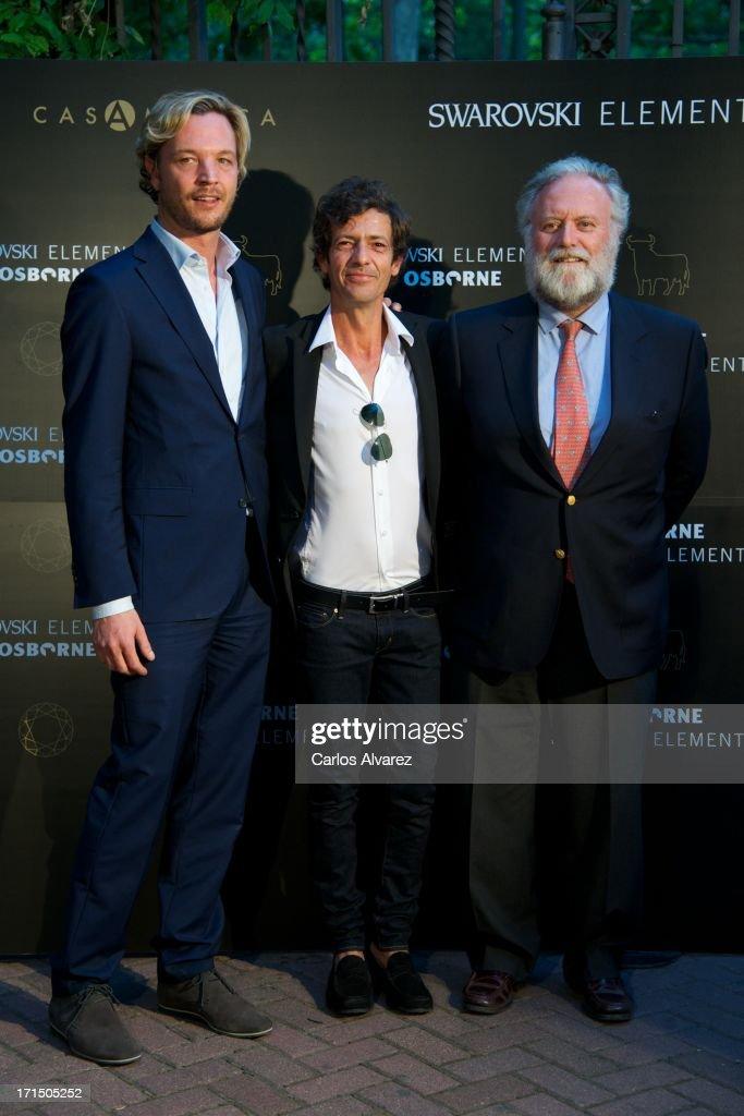 Markus Langes-Swarovski, Willie Marquez and Tomas Osborne attend Swarovski-Osborne Bull illumination at the Casa America on June 25, 2013 in Madrid, Spain.
