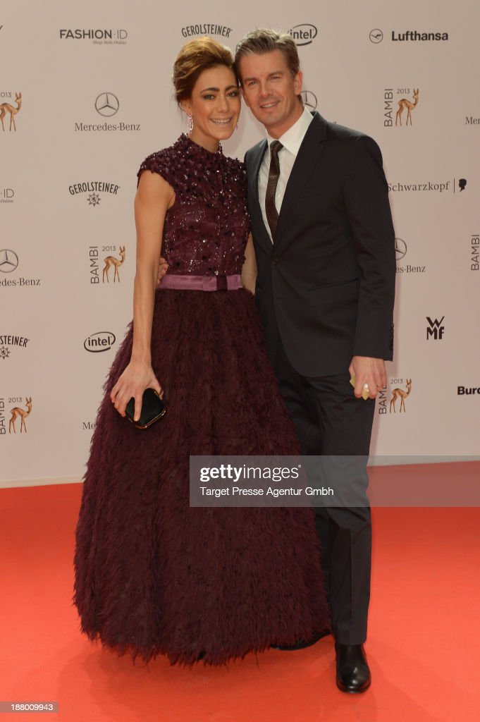 Markus Lanz and Angela Gessmann attend the Bambi Awards 2013 at Stage Theater on November 14, 2013 in Berlin, Germany.