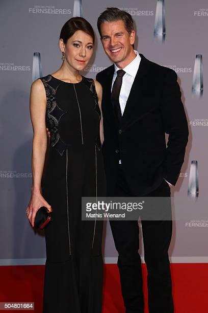 Markus Lanz and Angela Gessmann attend the German Television Award at Rheinterrasse on January 13 2016 in Duesseldorf Germany