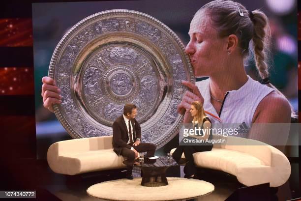 Markus Lanz and Angelique Kerber speak on stage during the TV show 'Menschen 2018 der ZDF Jahresrueckblick' at Phoenixhof on December 17 2018 in...