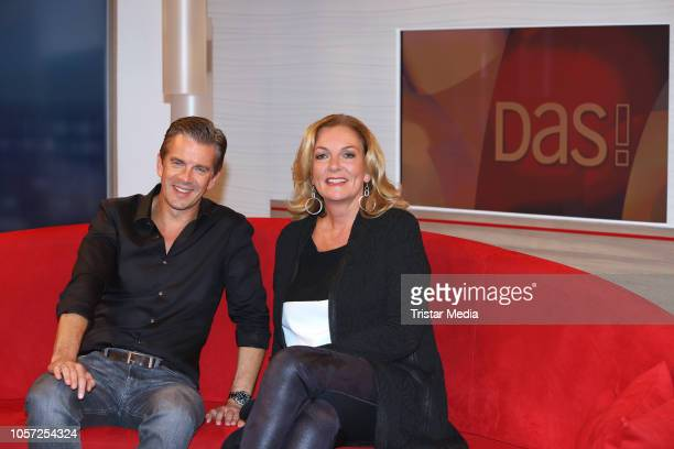 Markus Lanz and Bettina Tietjen during the DAS talk show to talk about the 10th anniversary of his talk show 'Markus Lanz' on November 2 2018 in...