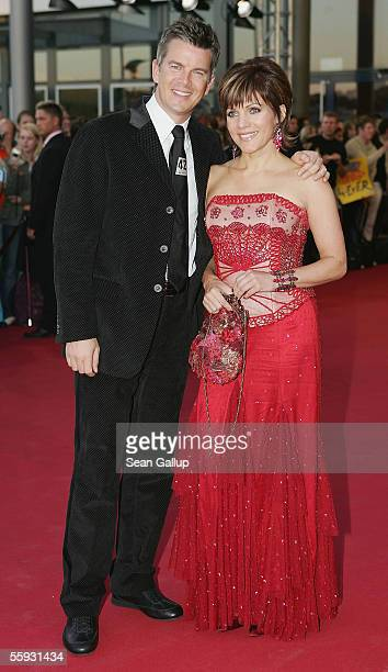 Markus Lanz and Birgit Schrowange arrive at the German Television Awards at the Coloneum on October 15 2005 in Cologne Germany