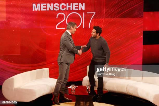 Markus Lanz and Elyas M'Barek during 'Menschen 2017' ZDF Jahresrueckblick on December 18 2017 in Hamburg Germany