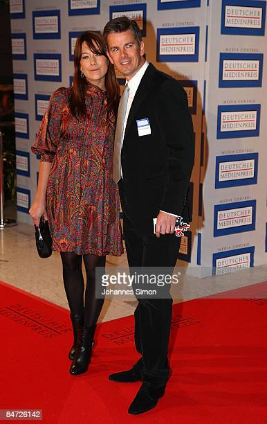 Markus Lanz and his girlfriend Angela attend the awarding ceremony of the German Media Award on February 10 2009 in BadenBaden Germany