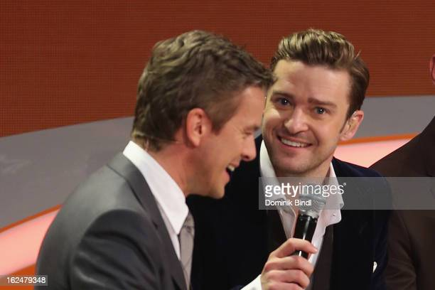 Markus Lanz and Justin Timberlake attend 'Wetten dass' from Friedrichshafen on February 23 2013 in Friedrichshafen Germany