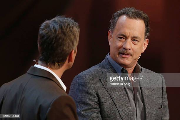 Markus Lanz and Tom Hanks attend the Wetten dass show at the MesseBremen on November 3 2012 in Bremen Germany