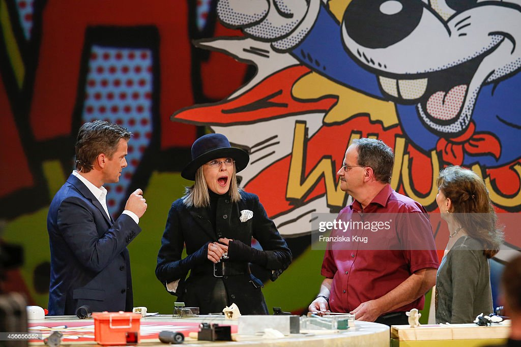 Markus Lanz, Diane Keaton and candidate Detlev Jarchow attend Wetten, dass..? from Erfurt on October 04, 2014 in Erfurt, Germany.